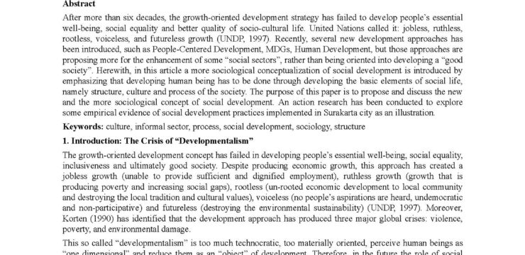 Sociological Reconceptualization of Social Development: With Empirical Evidence from Surakarta City, Indonesia